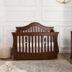 001CRB Convertible Crib w/ Storage Drawer in Espresso - Finish: Espresso<br><br>Available in White & Manor Grey<br><br>Assembly Required<br><br>Dimensions: 59.125