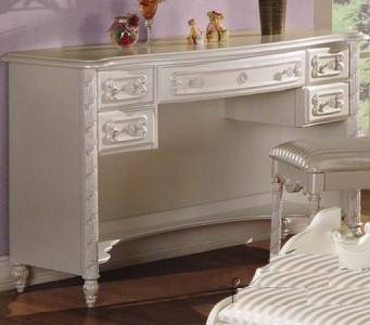 Item # A0070D - Finish: Pearl White w/ Gold Brush Accent<br><br>Chair Sold Separately<br><br>Hutch Sold Separately<br><br>Dimensions: 50