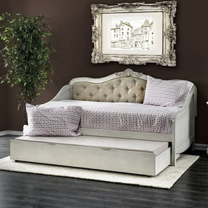096DB Daybed - Style Traditional<br> Color/Finish Antique White/Beige<br> Material Fabric, others, solid wood, wood veneer. Upholstery Color Beige<br> Product Dimension<br> Daybed 79 1/2