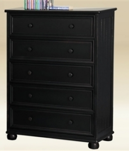 047CH Five Drawer Chest in Black