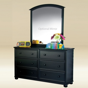 Item # 051- 1020BLK Six Drawer Dresser in Black