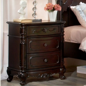 Item # A0030NS - This Victorian Style Nightstand with dovetailed drawers and metal glides incorporates floral motifs hardware, antique ecru finish and traditional carving details<br><Br>