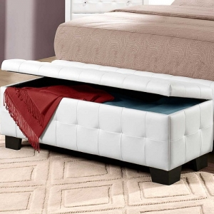 Item # 011SB Storage Bench - White bi-cast vinyl is featured not only on the tufted headboard, but on the drawer fronts of each case piece. Clear hardware is faceted for maximum sparkle and punctuates each drawer front.<br><br>