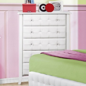 Item # 109CH Chest - White bi-cast vinyl is featured not only on the tufted headboard, but on the drawer fronts of each case piece and coordinating vanity and storage stools<br><br>