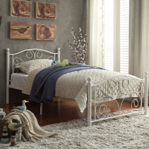 Item # A0004B - Twin Metal Bed<br>Available in Full Size<br>Finish: White<br>Dimensions: 42 x 79 x 40H