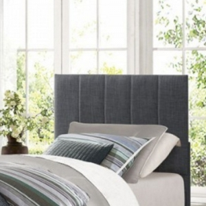 Item # 118HB Twin Grey Headboard - Grey fabric with vertical channel seaming<br><br>