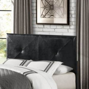 Item # 117HB Queen/Full Headboard - Black Bi-cast Vinyl with x-stitch pattern<br><br>