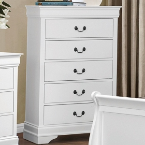 Item # 101CH 5 Drawer Chest - Contemporary Style Dresser in Burnished White Finish with metal glides