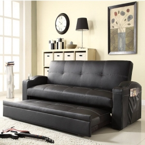 008FN Elegant Lounger - Baseball-stitched lining flawlessly lands on the black bi-cast vinyl surface while the back can be flattened and a pop-up trundle can be pulled out<br><br>Perfectly curved arms with cup holders and magazine pocket on side<br><br>