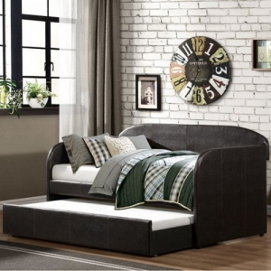 002DB Daybed W/Trundle  - Modern design that includes clean lines and a dark brown bi-cast viny<br><Br>Nestled below is the easily accessed lower trundle unit<br><Br>Casters make a quick work of extending this extra sleep space<br><br>