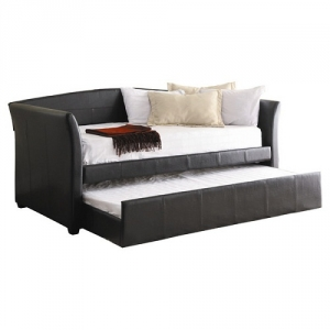 001DB Daybed W/ Trundle - The Twin Size Daybed features additional sleeping space in the form of a pull-out trundle<br><br> Padded for comfort and covered in dark brown bi-cast-vinyl<br><br>