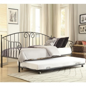 Item # 018MDB Metal Daybed W/ Trundle - Finished in black and features the design accent of whimsical swirls. When used as a bed, with the addition of the trundle, your sleep space capability doubles<br><br>