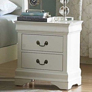 Item # 015NS Nightstand - Cottage style night stand in a white finish with metal glides<br><br>