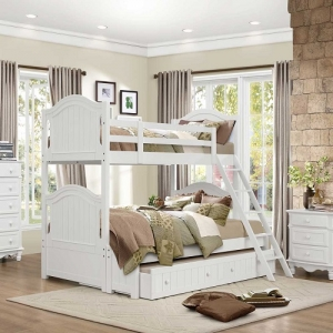 A0020TF Twin/Full Bunk Bed - This bunk bed features an optional full-size extension kit for the lower bunk. Also offered for each bed is a functional trundle allowing for the option of either storage or a twin bed