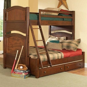 A0015TF Twin/Full Bunk Bed - This bunk bed features the warm brown cherry finish on select hardwoods and veneers.<br><br>