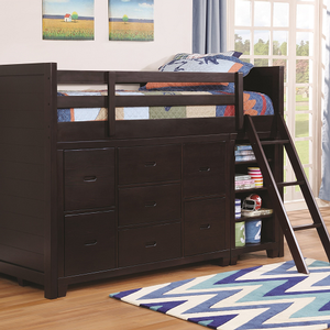 LB023 Twin Jr Loft Bed - Finish: Cappuccino<br><br>Optional 7-Drawer Dresser (Sold Separately)<br><br>Optional Bookcase (Sold Separately)<br><br>Dimensions: 78.25
