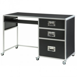 Item # 106D Computer Desk - Finish: Black/Silver<br><br>Dimensions: 47