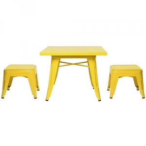 Item # 006KTCH Yellow Table and Chairs Set - Easy to wipe down post-play<br><Br>Backless stools support good play posture<br><Br>Stool stack for easy storage<br><Br><b>Best for 2.5 - 6 year olds</b><br><Br>Flared legs for anti-tip safety<br><br>Lead and phthalate safe with non-toxic