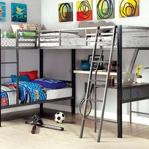 Item # MLB025 L-Shaped Triple Twin Loft Bed w/ Workstation - Finish: Silver<br><br>Dimensions: 118 1/4