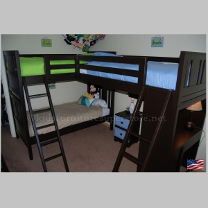 Win Tri-Bunk bed - Available in 32 Colors