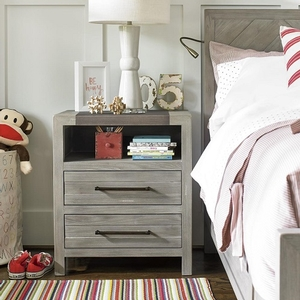 066NS Metal Top Nightstand - Power outlet with USB in back of open storage area<br><br>Touch light<br><br>Two Drawers<br><br>Metal Top
