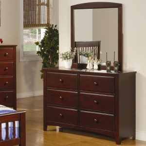 Item # 089DR 6 Drawer Youth Dresser - *Mirror Sold Separately*<BR><BR>Matching case pieces have dovetail joinery with center wood glides for a smooth and solid drawer foundation<br><br>Crafted from a solid pine and bass wood veneer