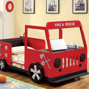 Fire Truck Twin Bed - Style Novelty<br Color/Finish Red/Black<br> Number of Slats 13<br> Product Dimensions Twin Bed 3/8
