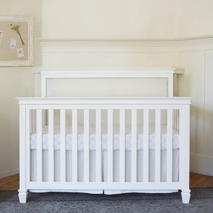003CRB Upholstered Convertible Crib - Finish: Warm White<br><br>Assembled Weight: 95 lbs<br><br>Dimensions: 57.8