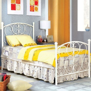 Item # A0018B - Twin Metal Bed<br>Finish: White<br>Dimensions: 79 1/4L X 42 3/8W X 43 7/8H