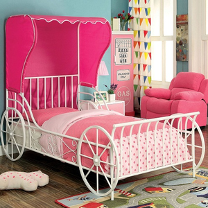 Item # A0006MB - Twin Size Carriage Bed<br>Available in Full Size<br>Finish: White/Pink<br>Dimensions: 85 1/4L X 43 1/8W X 63H