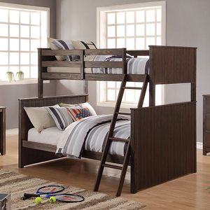 A0007TF Twin/Full Bunk Bed - Finish: Antique Charcoal Brown<br><br>Available in Twin/Twin Bunk Bed<br><br>Bunkie Board Not Required<br><br>Dimensions: 80