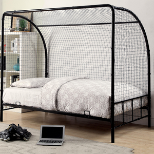 Item # A0011B - Twin Soccer Bed<br>Available in Full Size<br>Metal Finish: Black<br>Available in White<br>Dimensions: 78W x 41.25D x 69.25H