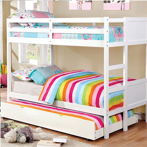 Item # A0010FF Full/Full Bunk Bed in White - Finish: White<br><br>Available in Dark Walnut or Gray Finish<br><br>Available in Twin/Twin Bunk<br><br>Foundation Required<br><br>Dimensions: 77 1/2