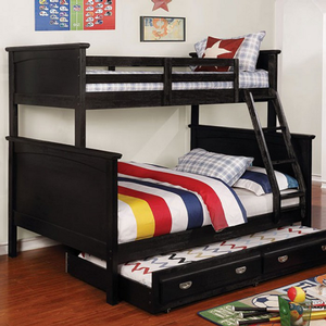 Item # A0010TF Twin/Full Bunk Bed - Finish: Black<br><br>Available in White<br><br>Dimensions: 81