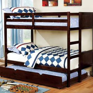 Item # A0011FF Full/Full Bunk Bed in Dark Walnut - Finish: Dark Walnut<br><br>Available in White or Gray Finish<br><br>Available in Twin/Twin Bunk Bed<br><br>Foundation Required<br><br>Dimensions: 77 1/2