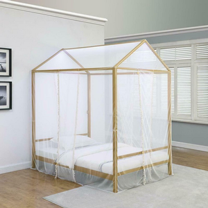 Item # A0014MB - Twin Iron Canopy Bed<br>Finish: Matte Gold<br>Dimensions: 62.75W x 84.50D x 89.50H