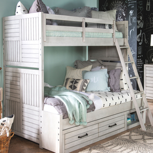 Item # A0014TT - Finish: Stone Path White<br><br>Available in Tree House Brown<br><br>Available in Twin/Full Bunk Bed<br><br>Dimensions: 66W x 80D x 72H
