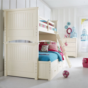 Item # A0019TF - Finish: Ivory<br>Available in Twin/Twin Bunk Bed<br>Dimensions: 76W x 18D x 13H