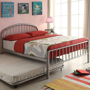 Item # A0022B - Twin Iron Bed<br>Available in Full Size<br>Finish: Silver<br>Available in Black, White & Blue<br>Dimensions: 79 x 39 x 33H