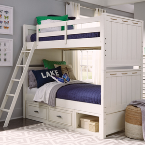 Item # A0003TF - Finish: Pebble White<br><br>Trundle/Storage unit sold separately<br><br>Dimensions: