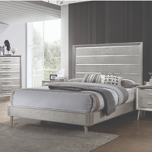Item # A0042T - Finish: Metallic Sterling<br><br>Box Spring Required<br><br>Offered in Easter King to Twin Sizes<br><br>Dimensions: 42.25 W x 80 D x 59 H