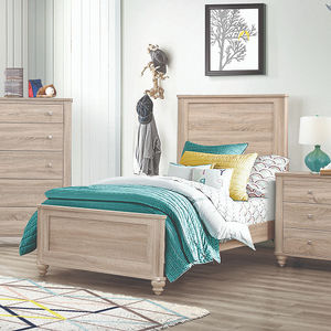 A0082T Twin Bed - Finish: Natural oak<br><br>Available in sizes twin to eastern king<br><br>Box spring required<br><br>Dimensions: 42.25W x 79.50D x 54H