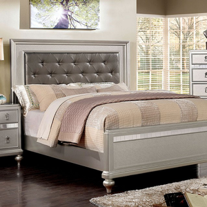 Item # A0103T - Finish: Silver<br>Frame Finish: Silver<br>Upholstery Color: Gray<br>Dimensions: 82 1/4L x 43W x 54H