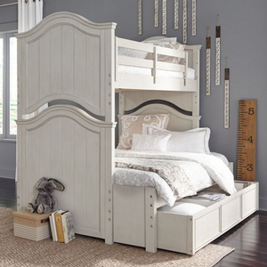 Item # A0012TF Twin/Full Bunk Bed - Finish: Vintage Linen finish and Rustic Dark Elm<br><br>Dimensions: 82W x 67D x 79H