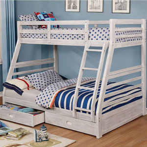Item # A0018TF Twin/Full Bunk Bed - Finish: Wire-Brushed White<br><br>Available in Black, Gray, Dark Walnut, Oak & White finish<br><br>Available in Twin/Twin bunk bed<br><br>Dimensions: 80 7/8