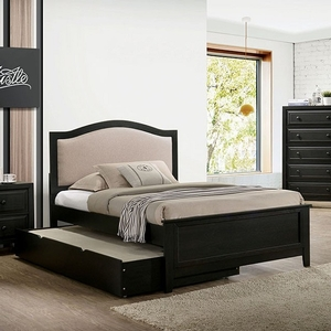 263T Dark Gray Twin Bed - Style Transitional<br> Color/Finish Dark Gray<br> Material Fabric, Solid wood, paper veneer<br> Frame Finish Dark gray<br>  Upholstery Color Beige<br>  Product Dimension Twin Bed 79 1/2