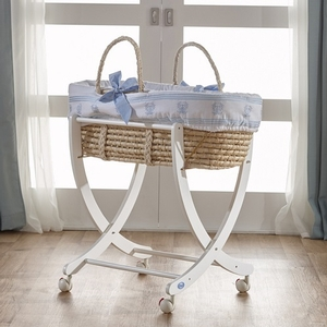 Blue Moses Basket - Available in Gray, Pink & Mint