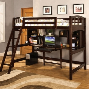 008TLB Twin Loft Bed W/ Workstation - Desk W/ Bookcase<br><br>Angled Ladder<br><br>14 Pc. Slats Top & Bottom<br><br>