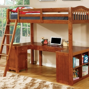007TLB Twin Loft Bed W/ Workstation  - Built-in Desk<br><br>Angled Ladder<br><br>Multiple Storage<br><br>14 Pc. Slats Top & Bottom<br><br>Extra Safety Insert & Lock Joint Structure<br><br>