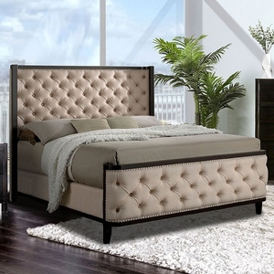 1176FB Full Bed - Style Transitional<br> Color/Finish Beige/Espresso. Upholstery Color Beige<br> Material Fabric, solid wood, others. Frame Finish Espresso<br> Product Dimension<br> Full Bed 82 1/2